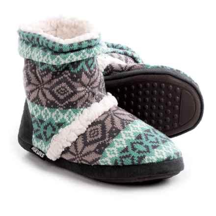 Muk Luks Scrunch Boot Slippers (For Women) in Fold Stripe - Closeouts