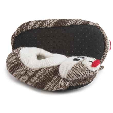Muk Luks Sock Monkey Slippers (For Infants) in Brown Tweed - Closeouts