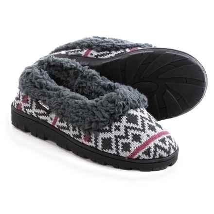 Muk Luks Sweater Slippers - Plush Lined (For Women) in Diamond Fairisle - Closeouts