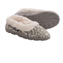Muk Luks Sweater Slippers - Plush Lined (For Women) in Snow Leopard - Closeouts