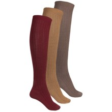 Muk Luks Waffle Boot Socks - 3-Pack, Over the Calf (For Women) in Tan/Red/Beige - Closeouts
