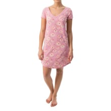 Munki Munki Burnout Nightgown - Short Sleeve (For Women) in Daisy Chains - Closeouts