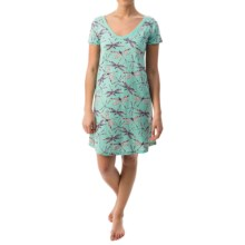 Munki Munki Burnout Nightgown - Short Sleeve (For Women) in Dragonflies - Closeouts
