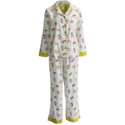 Munki Munki Classic Flannel Pajamas - Long Sleeve (For Women) in Holiday Traditions Print