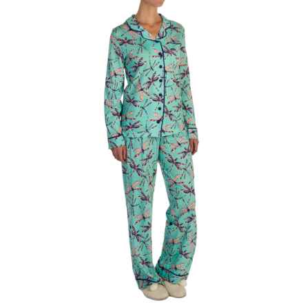 Munki Munki Classic Jersey Pajamas - Long Sleeve (For Women) in Dragonflies - Closeouts