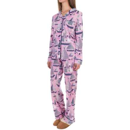 Munki Munki Classic Jersey Pajamas - Long Sleeve (For Women) in Sail Away - Closeouts