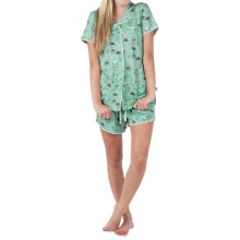 Munki Munki Classic Jersey Pajamas - Short Sleeve (For Women) in Leap Froggin Turtles - Closeouts