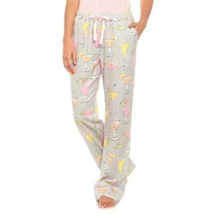 Munki Munki Fancy Drinks Flannel Pajama Pants (For Women) in Light Grey - Closeouts