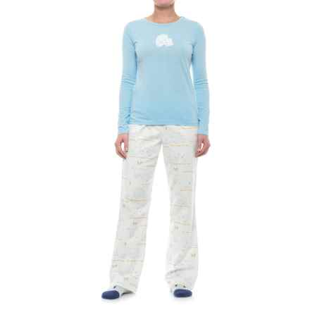 Munki Munki Flannel Pajamas - Long Sleeve (For Women) in Blue/White/Bear - Closeouts
