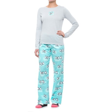 Munki Munki Flannel Pajamas - Long Sleeve (For Women) in Grey/Green/Penguin