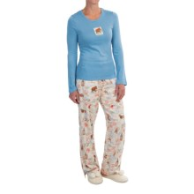 Munki Munki Passport Stamps Pajamas - Long Sleeve (For Women) in Passport Stamps - Closeouts