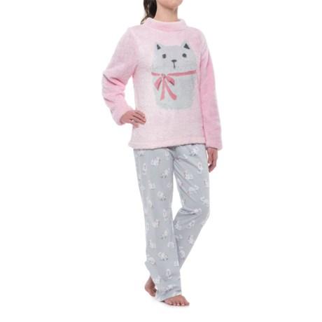 Munki Munki Plush Fleece Loungewear Set - Long Sleeve (For Women) in Grey/Pink/Kitten