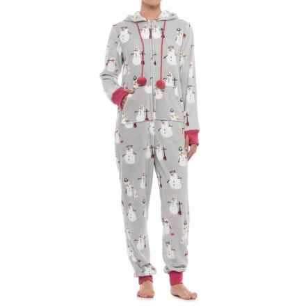 Munki Munki Plush Fleece Union Suit Pajamas - Long Sleeve (For Women) in Grey/Snowmen - Closeouts