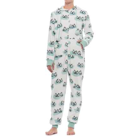 Munki Munki Plush Fleece Union Suit Pajamas - Long Sleeve (For Women) in White/Penguins - Closeouts