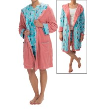 Munki Munki Reversible Hooded Robe - Long Sleeve (For Women) in Preening Peacocks Pink - Closeouts