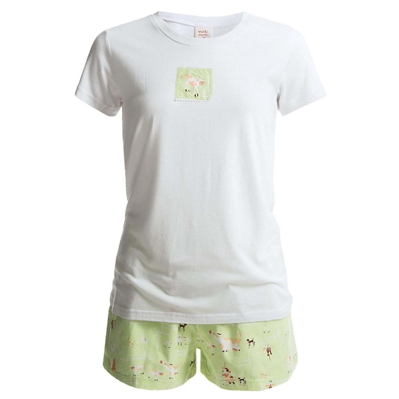 Munki munki scoop neck t shirt and shorts pajamas short T shirt and shorts pyjamas