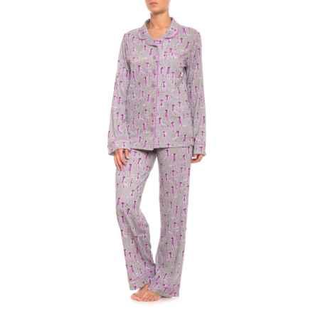 Munki Munki Sock Monkey Classic Pajamas - Long Sleeve (For Women) in Grey - Closeouts