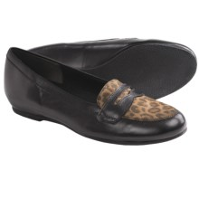 Munro American Carrie Penny Loafer Shoes (For Women) in Black Kid/Leopard - Closeouts