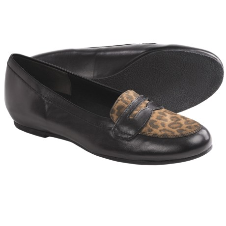Munro American Carrie Penny Loafer Shoes (For Women) in Black Kid/Leopard
