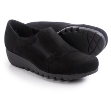 Munro American Coast Wedge Shoes - Nubuck, Slip-Ons (For Women) in Black Nubuck - Closeouts