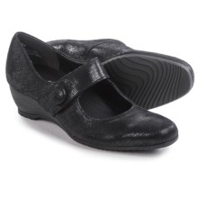 Munro American Jenna Mary Jane Shoes - Suede, Wedge (For Women) in Black Crosshatch Suede - Closeouts