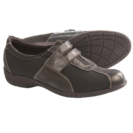 Munro American Jolie Shoes - Slip-Ons (For Women) in Brown Fabric/Patent