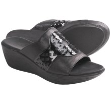 Munro American Miya Wedge Sandals (For Women) in Black Leather/Black Patent - Closeouts