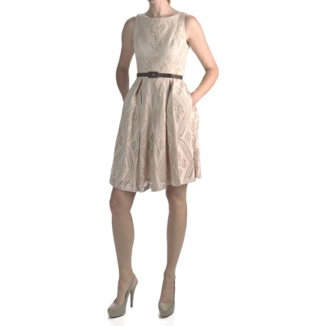 Muse Belted Eyelet Boat Neck Dress - Sleeveless (For Women) in Beige