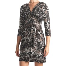 Muse Draped Surplice Dress - Long Sleeve (For Women) in Grey Multi - Closeouts