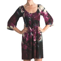 Muse Floral Jersey Dress - 3/4 Sleeve (For Women) in Fuschia Multi