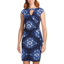 Muse Surplice Cutout Jersey Dress - Short Sleeve (For Women) in Blue Multi - Closeouts