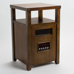 Muskoka Quartz Infrared Heater and Decorative Accent Table - Block-Style Top with Shelf in Burnished Pecan