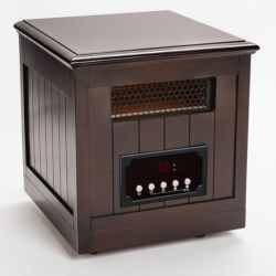 Muskoka Quartz Infrared Heater and Decorative Accent Table in Burnished Pecan