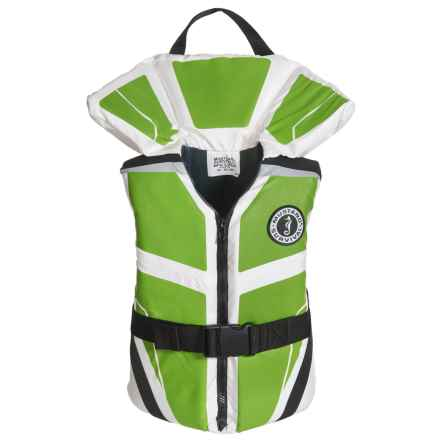 Mustang Survival Lil' Legends 100 Type II PFD Life Jacket (For Big Kids) in White/Green - Closeouts