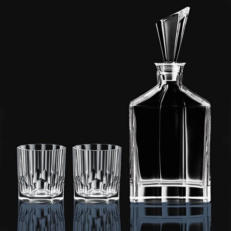 Nachtmann Aspen Whisky Decanter Set - 3-Piece, Bavarian Crystal in Crystal