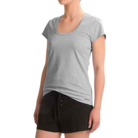 Naked Essential Cotton Stretch T-Shirt - Scoop Neck, Short Sleeve (For Women) in Metro Grey - Closeouts