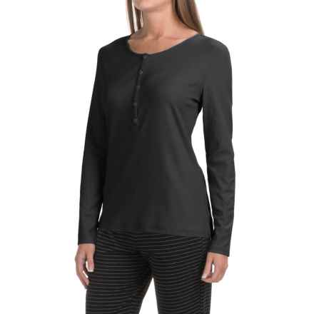 Naked Pima Cotton Henley T-Shirt - Long Sleeve (For Women) in Black - Closeouts