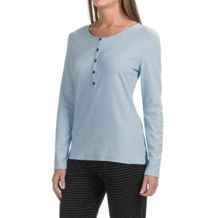 Naked Pima Cotton Henley T-Shirt - Long Sleeve (For Women) in Powder Dusk - Closeouts