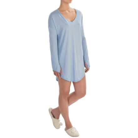 Naked Pima Cotton Sleep Shirt - Long Sleeve (For Women) in Powder Dusk - Closeouts