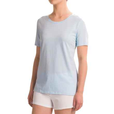 Naked Pima Cotton Sleep T-Shirt - Crew Neck, Short Sleeve (For Women) in Powder Dusk - Closeouts