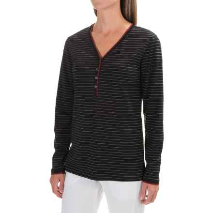 Naked Stretch Henley Shirt - Long Sleeve (For Women) in Gotham Stripe - Closeouts