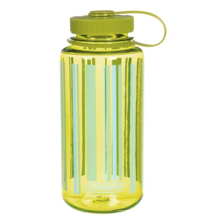 Nalgene Wide-Mouth Water Bottle - 32 fl.oz., BPA-Free in Green With Stripes