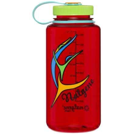 Nalgene Wide-Mouth Water Bottle - 32 fl.oz., BPA-Free in Spicy Peper/Kiwi Cap - Closeouts