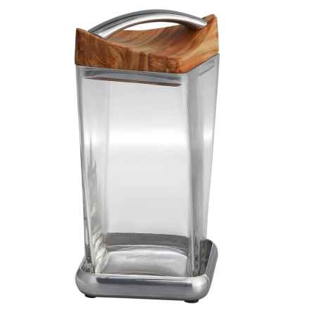 """Nambe Twist Canister - 9.5"""" in Wood/Glass - Closeouts"""