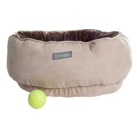 "Nandog Reversible Round Dog Bed - 22"" in Tan/Dark Brown"