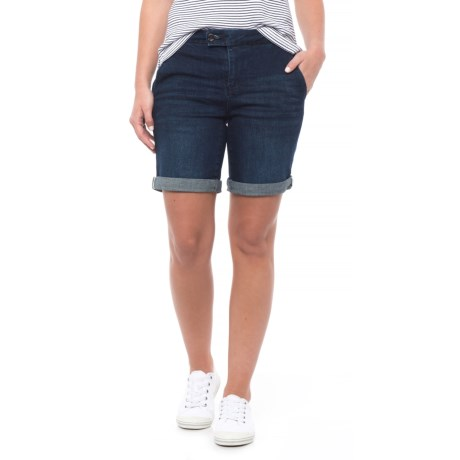 NANETTE Nanette Lepore Denim Trouser Bermuda Shorts - Mid Rise (For Women) in Asphalt Wash