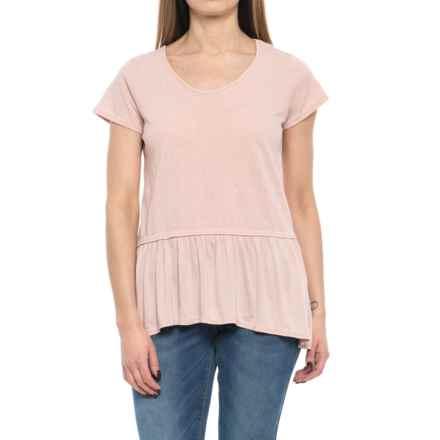 NANETTE Nanette Lepore Drop Peplum Shirt - Short Sleeve (For Women) in Rosedust - Closeouts