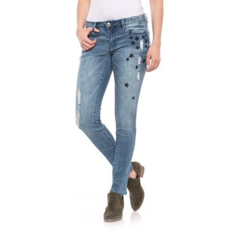 NANETTE Nanette Lepore Mid-Rise Skinny Jeans (For Women) in Silver Destroy
