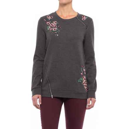 NANETTE Nanette Lepore Rose Embroidered Sweatshirt (For Women) in Heather Grey - Closeouts