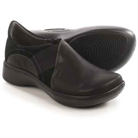 Naot Atlantic Leather and Suede Shoes - Slip-Ons (For Women) in Caviar Leather/Black Suede - Closeouts